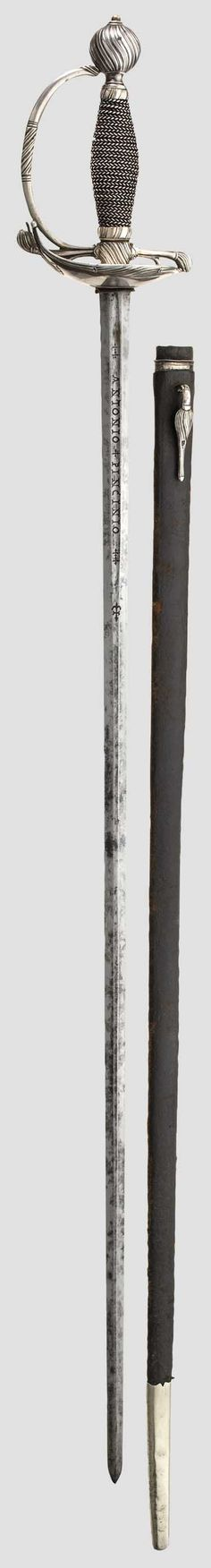 "A North European silver small-sword with scabbard, 2nd half of the 18th century Thrusting blade of flattened hexagonal section, with short fullers on both sides and bearing the inscription ""ANTONIO PINCINIO"". Heavy silver hilt decorated in spiral relief with a guard plate turned up on one side (visible soldering on the quillon). Grip wrapped with corded silver wire. Leather-covered wooden scabbard with stamped locket and (replacement) chape, both fashioned in silver. Length 101 cm."