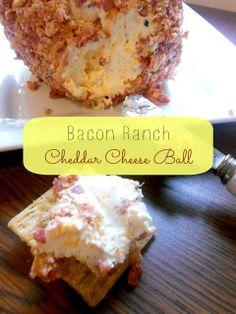 Bacon Ranch Cheddar Cheese Ball I Ally's Sweet & Savory Eats. I'd use turkey bacon.