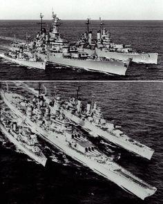 1945 3-classes of US warships center Battleship, right Cruiser, left destroyer