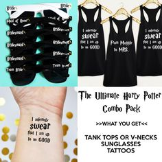 The Ultimate Harry Potter Bachelorette Party Combo Pack- Includes Shirts, Sunglasses & Temporary Tattoos in the Colors of your…