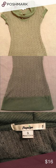Papaya, EUC, Green, Cowl-Neck, Tunic Sweater Worn a Couple Times, but No Signs of Wear Washed & Laid Flat to Dry Super Cute, Long Sweater with Cowl Neck & Button Details! Short Sleeves; Fitted; Perfect, Early Fall Sweater to Wear with Tights & Boots! Size Small Brand is Papaya Papaya Sweaters Cowl & Turtlenecks