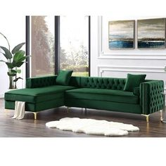 Our velvet left facing sectional sofa with chaise lounge will give your home the renaissance it deserves. Comfort and style is evident in this dynamic sofa. This sectional features rich hued button tufted velvet fabric with contrasting nailhead trim Sofa Design, Sofa Set Designs, Living Room Sofa, Living Room Decor, Green Living Room Ideas, Sectional Sofa With Chaise, White Loveseat, Tufted Sofa, Bed Couch