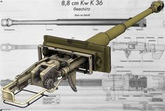 High detail model of Tank gun 88 cm KwK 36 German Soldiers Ww2, German Army, Military Guns, Military Weapons, Army Vehicles, Armored Vehicles, Afrika Corps, Tank Armor, Tiger Tank