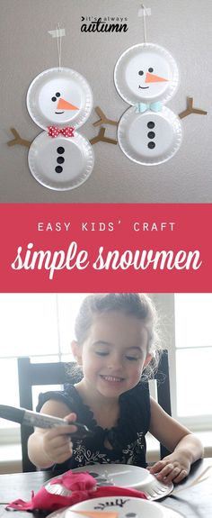 easy holiday kids' craft - foam plate snowmen - looks like fun! #heftyholidays #sp