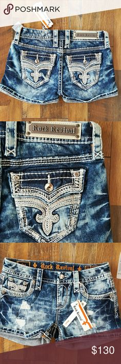"NWT Rock Revival Ena Acid Wash Shorts 26 New with tags, Rock Revival Shorts, acid wash with destruction down the front. 3"" inseam. No trades please. Rock Revival Shorts Jean Shorts"
