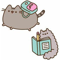 Back to School Pusheen ❤ liked on Polyvore featuring pusheen