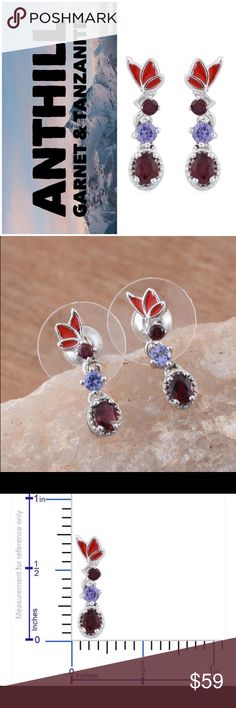 Anthill Garnet & Tanzanite Butterfly Earrings This is for a pair of Anthill Garnet and Tanzanite butterfly enamel earrings. The setting is platinum over solid .925 sterling silver. .65 total carat weight. 100% genuine gemstones and metals. Jewelry Earrings