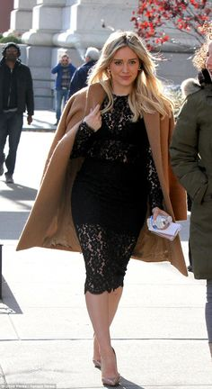 Chilly chic:Hilary Duff showed off her style chameleon skills - and the skills of the TV Land stylists - as she stepped out on the Younger set in New York on Tuesday