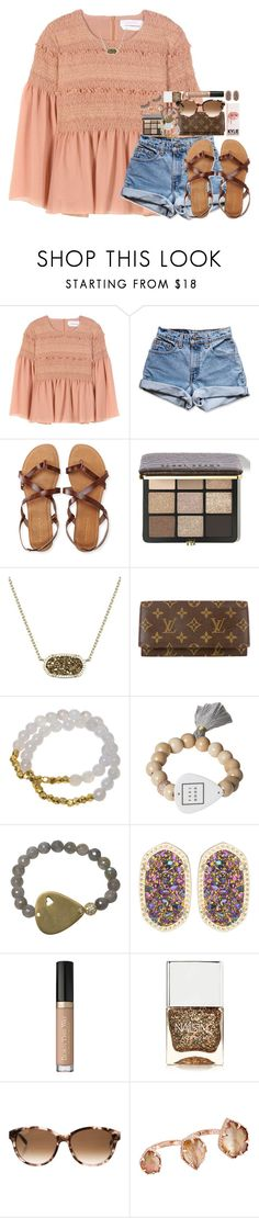 """tysm for 1.6k"" by kate-elizabethh ❤ liked on Polyvore featuring See by Chloé, Levi's, Aéropostale, Bobbi Brown Cosmetics, Kendra Scott, Louis Vuitton, Electric Picks, Nails Inc., Kate Spade and Rimini"