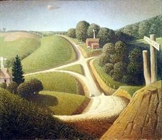 Stone City Iowa painted by Grant Wood