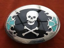 Johnson Held Skull & Bones Turquoise Inlay