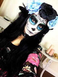 Dia De Los Muertos ♡ Sugar Skull Halloween Makeup Tutorial: http://www.youtube.com/watch?v=iRihe20CFv4