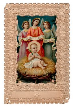Gloria in Excelsis Deo Vintage Lace Holy Card | eBay