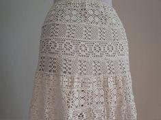 Falda de ganchillo vintage falda de algodón blanco de 1970