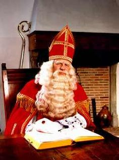 sinterklaas..de echte!  He rode on a white horse to visit the school behind my house with his helper Swart Pete