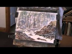 Painting rocks with a plastic card in watercolour - YouTube