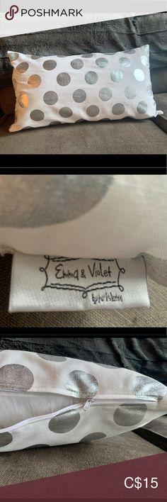 EMMA & VIOLET decorative pillow Polka dot pillow has a removable metallic printed pillow cover Is by 1 ft EUC Emma & Violet Bedding Pillows Decorative Pillows, Pillow Covers, Bed Pillows, Bedding, Polka Dots, Metallic, My Favorite Things, Printed, Closet