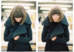 Maja Božovič by Tonbogirl New Fashion, Fashion Show, Graduation, Raincoat, Black And White, Jackets, Rain Jacket, Down Jackets, Black N White