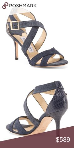 JIMMY CHOO Strappy Leather Sandals snake embossed heel, size chart conversion may vary slightly by country 3.5in heel open toe ankle strap and buckle closure leather upper, leather sole imported, made in italy style #:1000211040 Jimmy Choo Shoes Sandals #jimmychooheelsstrappy #strappysandalsheels