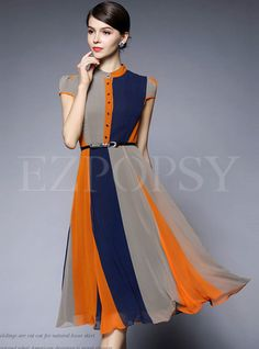 Shop for high quality Vintage Floral-Color Slim Maxi Dress online at cheap prices and discover fashion at Ezpopsy.com