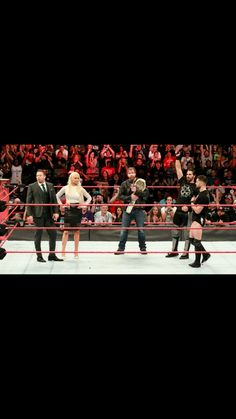 Intercontinental Champion Dean Ambrose in the ring w/ the A lister Miz & Maryse, the Architect Seth Rollins & the Leader of the Balor Club, Finn Balor!