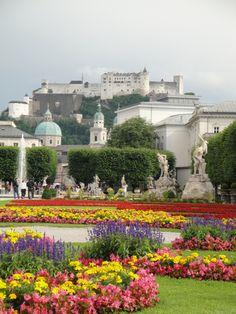 View towards Hohensalzburg caslte in Salzburg, Austria