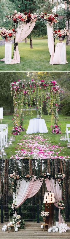 Stunning outdoor floral and fabric wedding altar and arch ideas #weddingideas #weddinginspiration #weddingarch #outdoorwedding #flowers