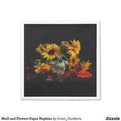 Skull and Flowers Paper Napkins