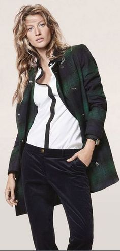 Esprit F/W 12/13 Blackwatch plaid jacket with white blouse trimmed in black