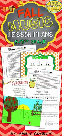 These lessons include 6 fall-themed music lesson plans for kindergarten or first grade music students along with 150 pages of resources! Each lesson includes the following sections: objective, warm-up, anticipatory set, model, guided practice, and independent practice. They even include 2 original songs with notation and lyric sheets!