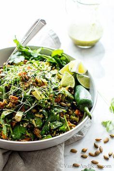 Black Bean Sweet Potato Quinoa Salad with Smoky Pepitas and Roasted Jalapeño Lime Dressing. Vegan + Gluten Free