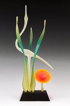 Lone Crane Teal: Warner Whitfield: Art Glass Sculpture - Artful Home