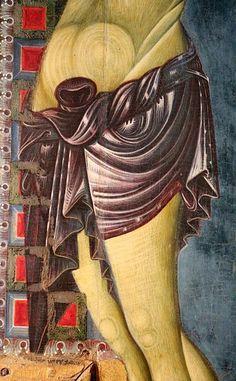 Maestro del Crocifisso di Gualdo Tadino - Crocifisso con la Vergine, Giovanni e San Francesco, dettaglio  - 1250-1300 ca.- Museo civico di Gualdo Tadino (Umbria)