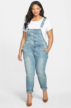 Plus Size Button Front Distressed Overalls