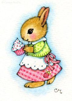 Art: Cupcake Bunny ACEO by Artist Carmen Medlin
