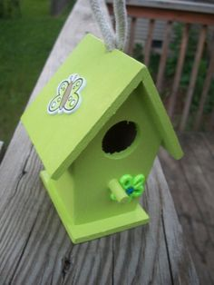 Hand Painted Green Butterfly and Flower Birdhouse by jenuinecrafts, $10.00