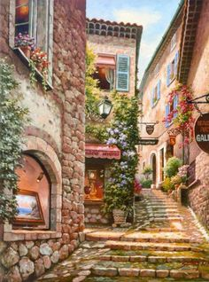 Town Painting by Sung Kim 01 A (Gallery Step Italian Street) . Buy any Canvas Art Print,Framed Art,Poster and Photo Print at Great Prices, Retail and Wholesale Satisfaction Manufacturer and Supplier. Colorful Paintings, Beautiful Paintings, Watercolor Paintings, Belle Image Nature, Italian Street, Italian Art, Beautiful Places, Scenery, Photos