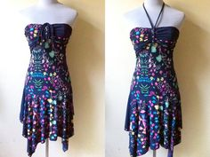 dark blue floral drop waist dress small by VintageHomage on Etsy