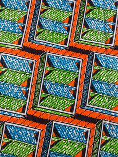 Nigerian Fabric Super Deluxe Wax Orange Labyrinth