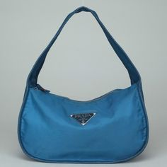 $25 Starting Bid.  Authentic PRADA!! HANDBAG Nylon Small Shoulder Handbag Blue Color