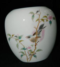 A Vintage WhiteCreamy & Glossy Flat Vasew/ Pink by ZiggyzAttic