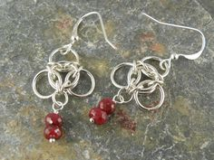 Sterling Silver Clover Leaf Earrings with Ruby by WovenChains, $35.00