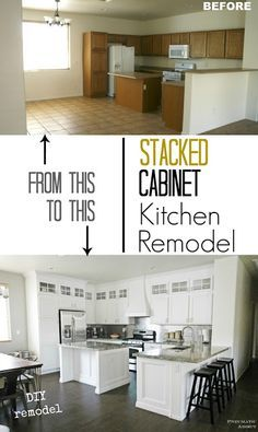 Gorgeous white kitchen with DIY stacked upper cabinets and stainless steel accents