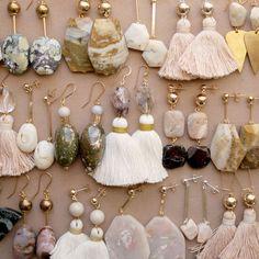 Ocean jasper, marble, Peruvian opal and moonstone earrings