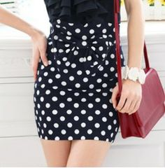 Vintage Dotted Print Bow Embellished High Waist Women's Pencile Skirt