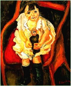 """Chaïm Soutine - """"Fillette à la poupée"""" (1919)  Huile sur toile (73 x 60)"""