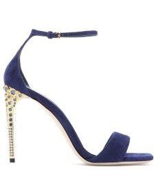 Miu Miu - Suede sandals with embellished heel - mytheresa.com