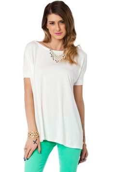ShopSosie Style : Cozy Short Sleeve Tee in Cream by Piko $26
