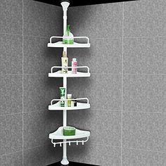 Etagère télescopique de douche – Hauteur max. 285cm – Avec crochets serviettes