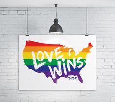 Love Wins Printable Art, LGBT Art, Same Sex Marriage Gift, Gay Pride, Gay Rights, Rainbow Art, #LoveWins, Wedding Gift, Art Print by DesignAndDandyCo
